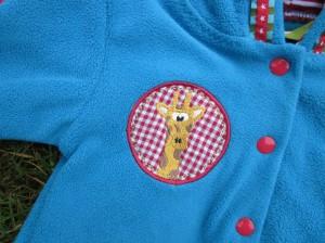 Fleecejacke Baby mit Giraffenbutton